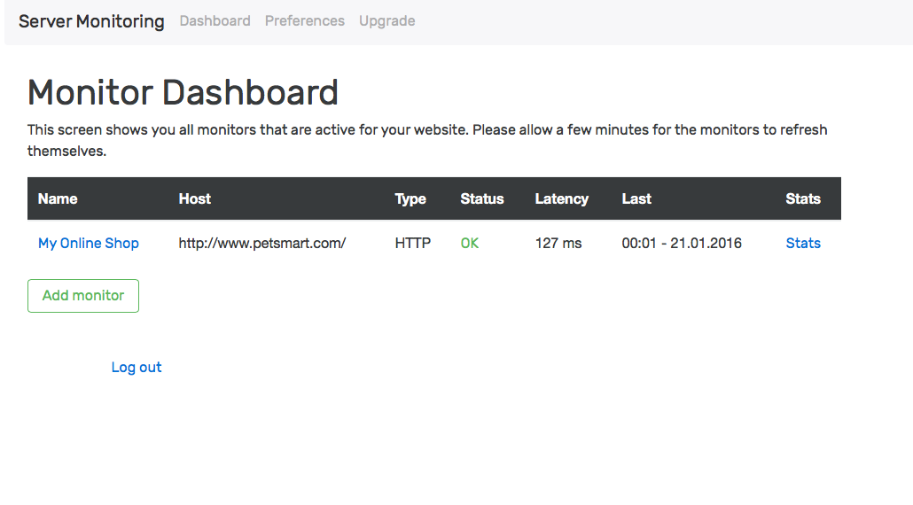 A screenshot of server-monitoring.io
